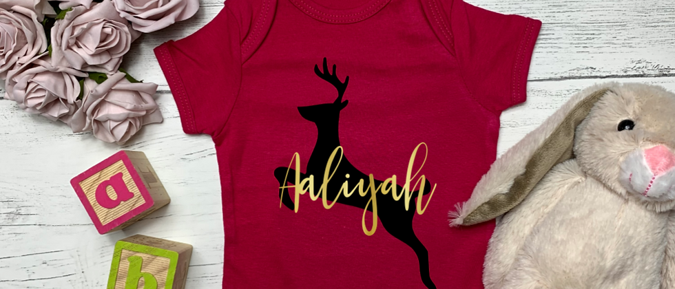 Personalised Christmas Reindeer Baby Bodysuit