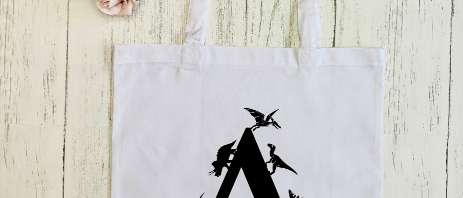 """Personalised Dinosaur Letter """"Bag For Life"""" Tote"""