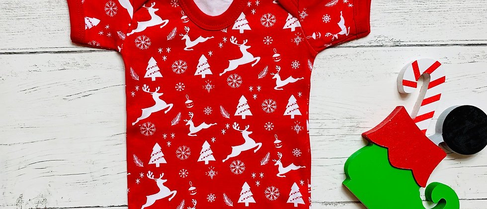 Red Printed Reindeer Christmas Baby Bodysuit