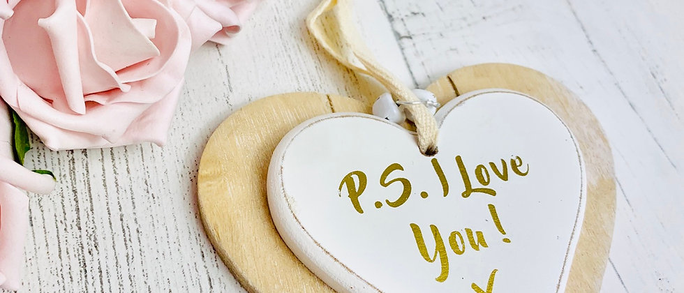Shabby Chic Double Wood Quote Hanging Love Heart