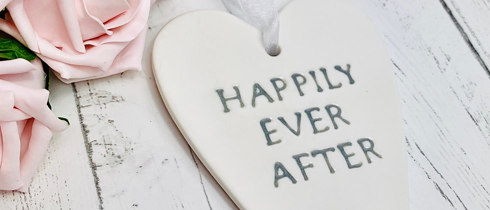 Happily Ever After Ceramic Wedding Love Heart