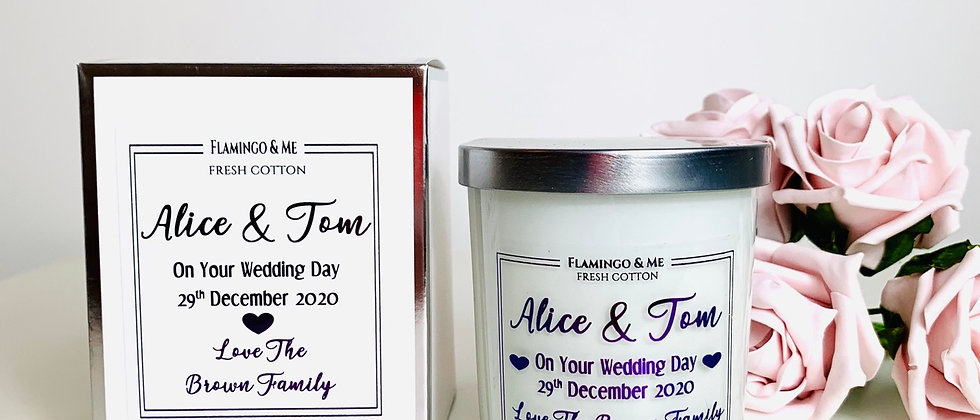 Personalised Wedding Day Foil Candle
