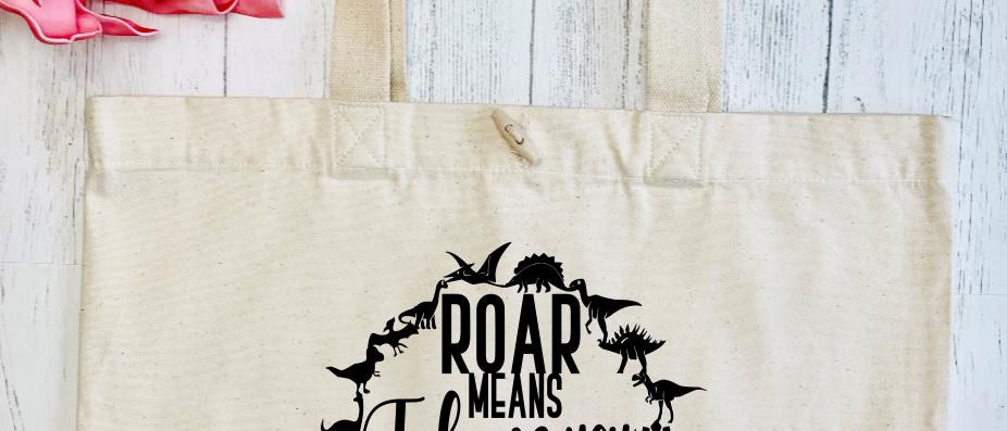 Roar Means I Love You In Dinosaur Organic Marina Tote