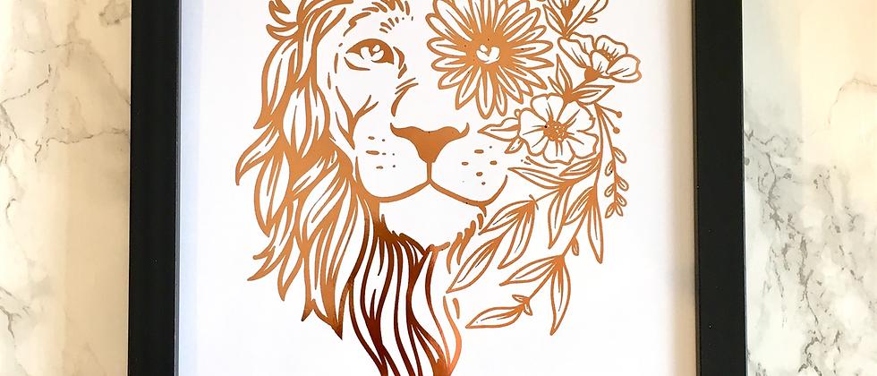 Personalised Bohemian Lion Foil Print