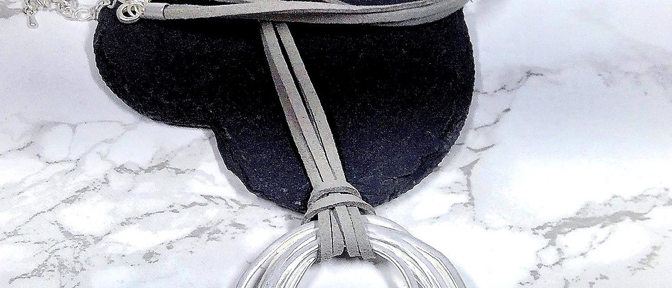 Multi Circle Pendant on Grey Suede Necklace