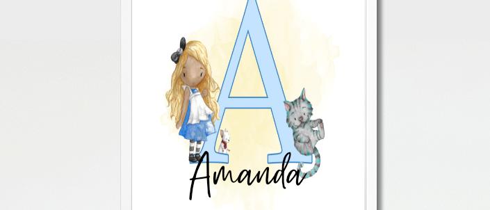 Personalised Foiled Alice in Wonderland Baby Kids Print