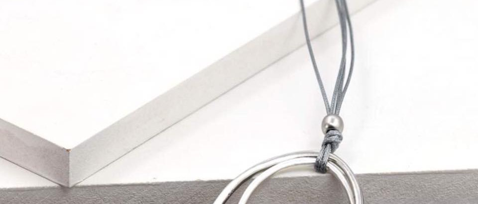 Grey Double Circle Linked Pendant Long Necklace
