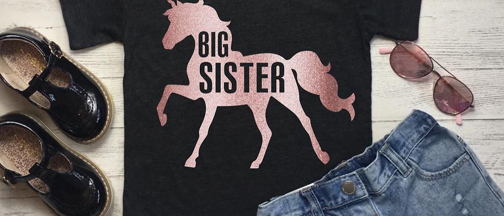 Big Sister Unicorn Cut Out Kids' Tri-Blend Tee