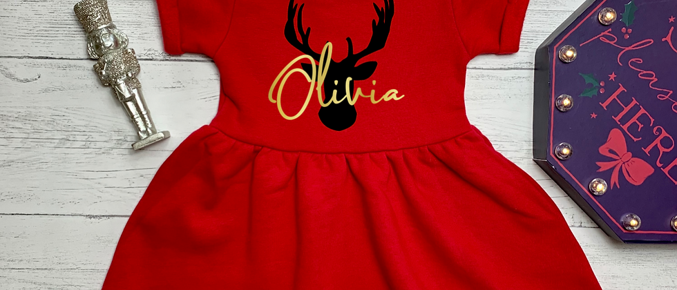 Personalised Stag Head Christmas Red Fleece Dress