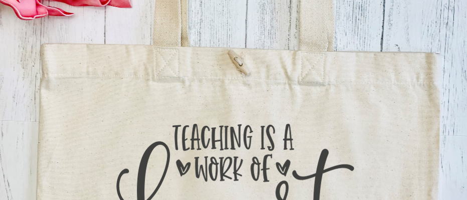 Teaching Is A Work Of Heart Organic Marina Tote