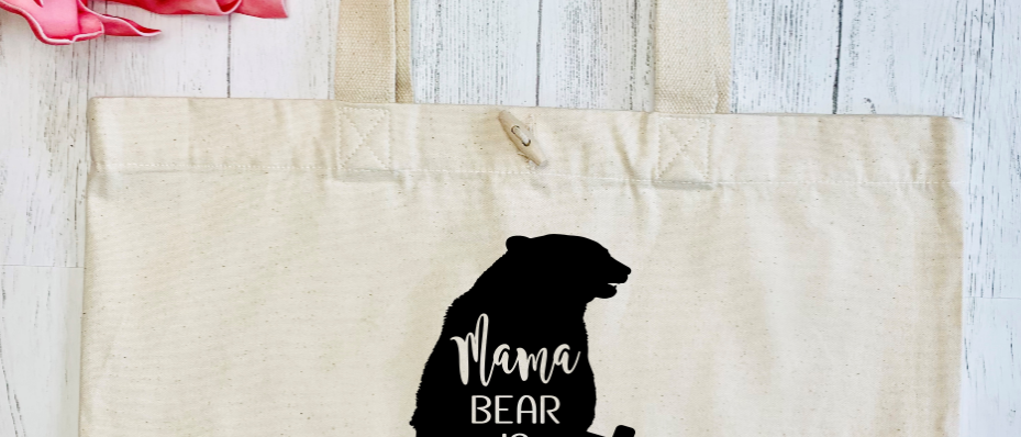Mama Bear Is Fierce Workout Exercise Organic Marina Tote