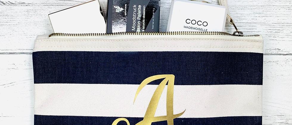 Personalised Nautical Stripe Make Up Bag