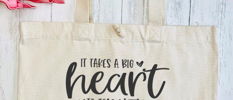 Big Heart Teach Little Minds Organic Marina Tote