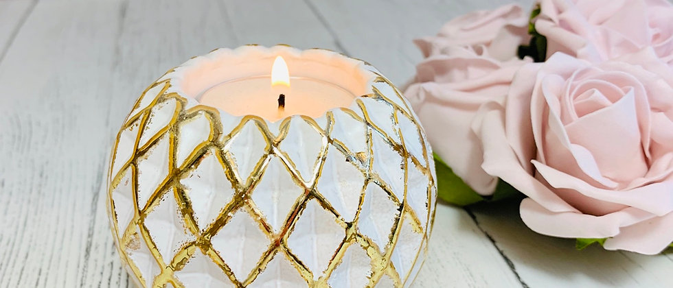 Luxe White & Gold Geometric Tealight Holders