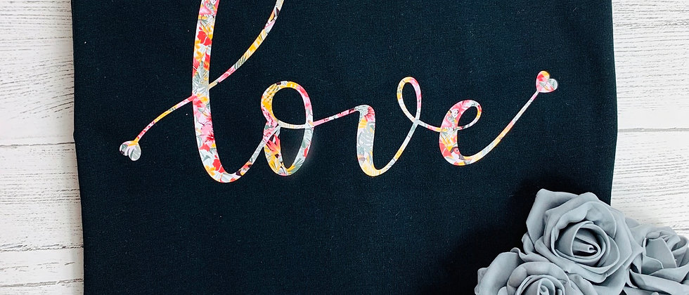 LIMITED EDITION Love Script Tropical Paradise Print Luxury Tee