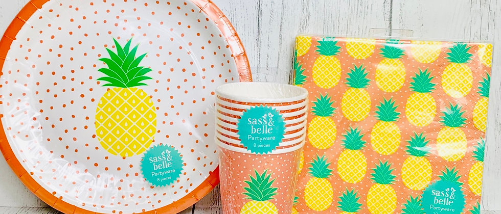 Summer Pineapple Party Plates Cups Napkins
