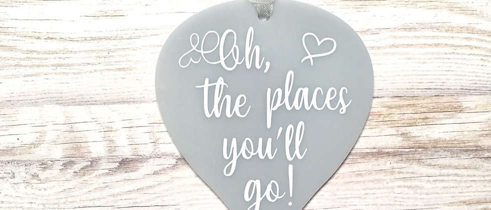 Oh The Places You'll Go Hot Air Balloon Hanging Sign