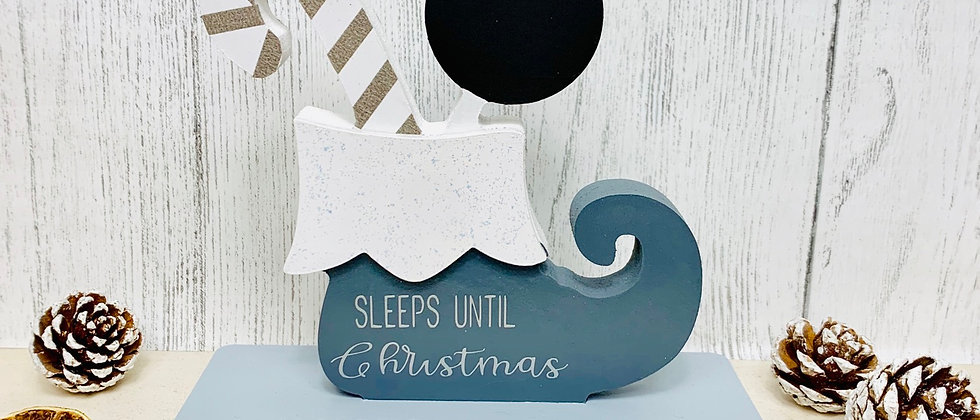 Personalised Chalkboard Elf Boot Countdown Sleeps to Christmas