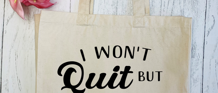 I Won't Quit Exercise Gym Fitness Canvas Classic Shopper