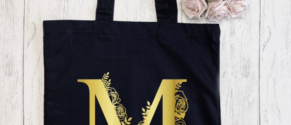 Personalised Floral Letter Canvas Classic Shopper