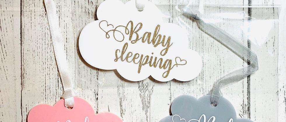 Baby Sleeping Cloud Hanging Sign