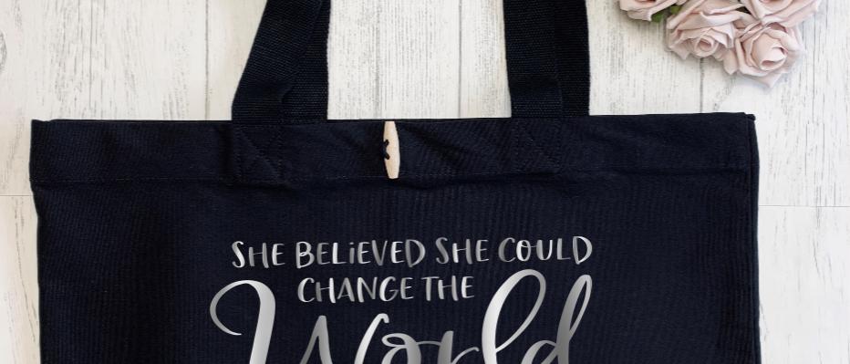 She Believed She Could Change The World Teacher Organic Marina Tote
