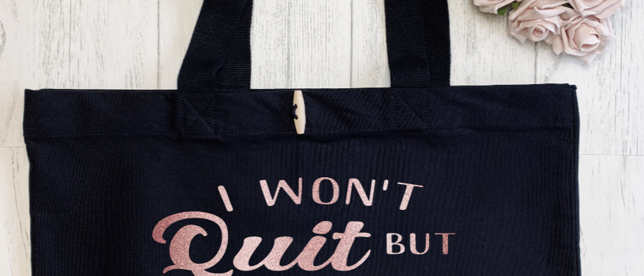 I Won't Quit But I Might Cuss Fitness Workout Exercise Organic Marina Tote