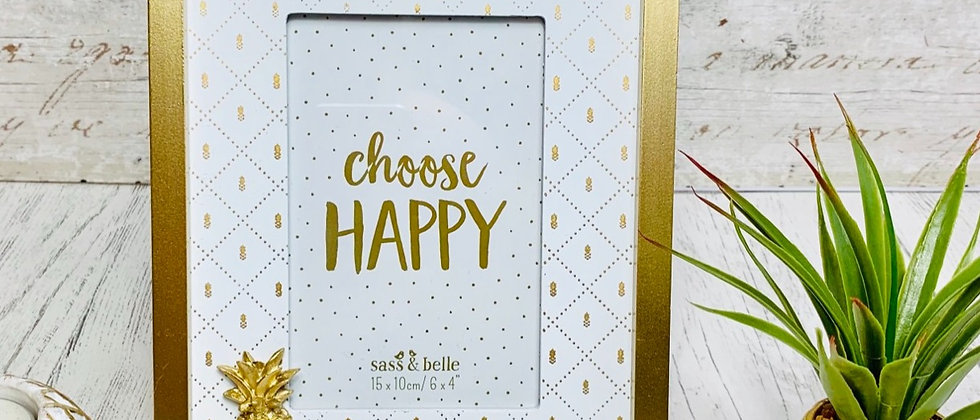 Choose Happy Touch of Gold Pineapple Photo Frame