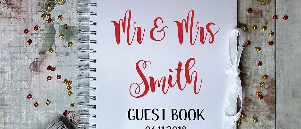 Personalised Wedding Guest Book Ribbon Tie Book