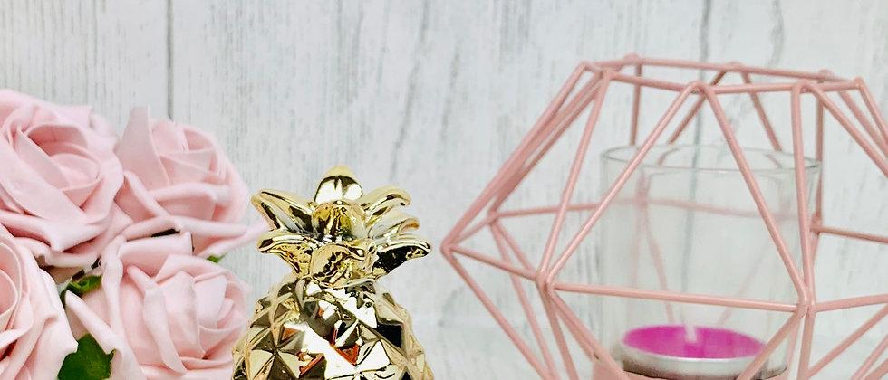 Black & Gold Polka Dot Pineapple Jewellery Trinket Dish