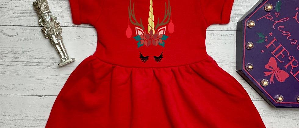 Personalised Unicorn Reindeer Christmas Red Fleece Dress