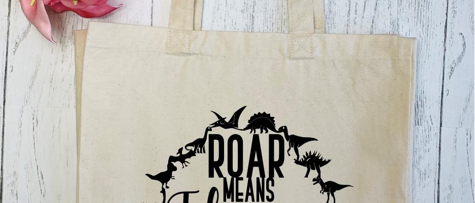 Roar Means I Love You In Dinosaur Canvas Classic Shopper