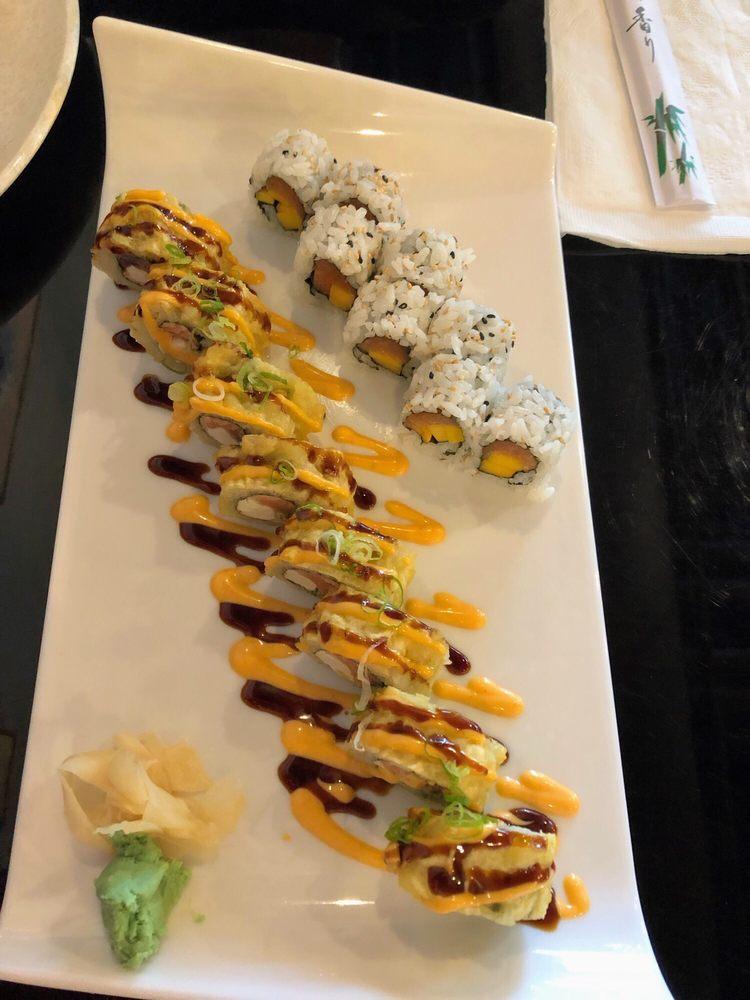 Salmon:mango roll and vegas roll