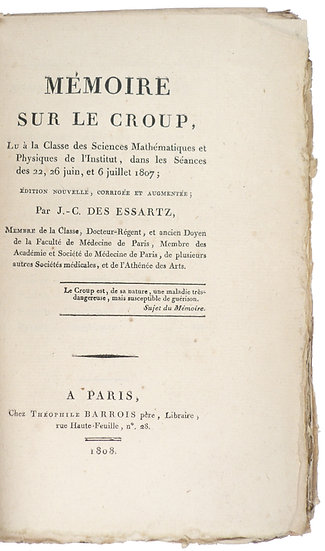 An account of croup, lovely unopened copy, 1808