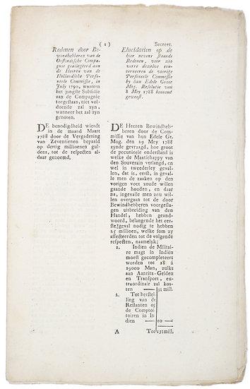 Redenen door Bewindhebberen van de Oostindische Compagnie, 1790