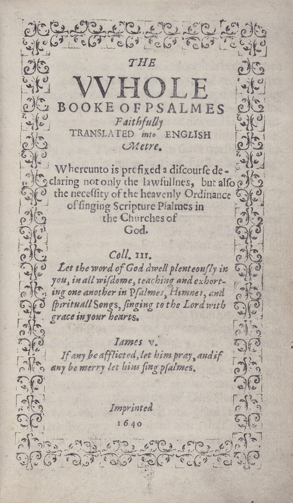 Titelpagina van The Whole Booke of Psalmes, 1640, beter bekend as het Bay Psalm Book.