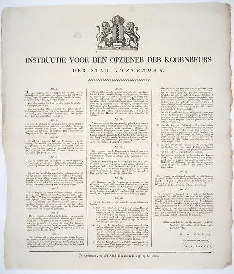 Instructie voor den opziener der koornbeurs der stad Amsterdam, 1825