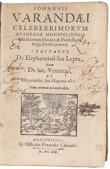 Four medical works by Jean Varandal in one volume, from the library of Bob Luza