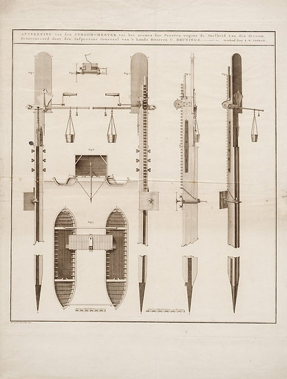 A large etching of Brunings's flow velocity instrument, 1798