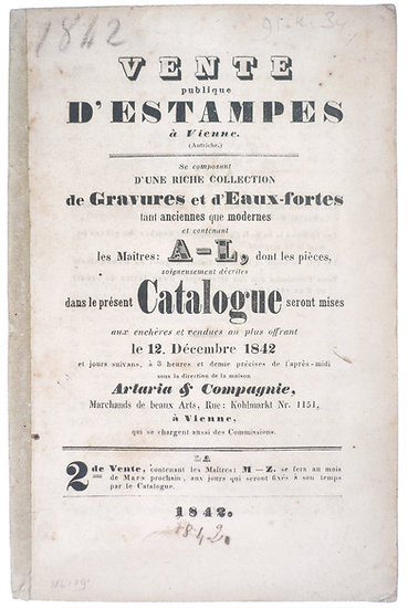 1842 Auction catalogue of Artaria & Compagnie