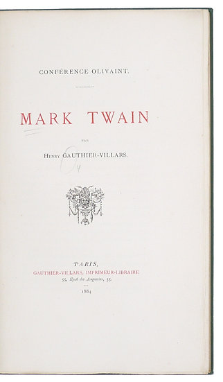 The first book on Mark Twain, from the library of the author