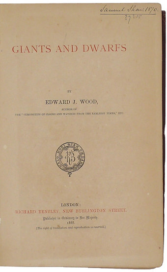 First edition of a classic study on giants and dwarfs, 1868