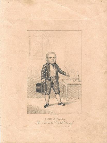 An engraved portrait of celebrated Dutch dwarf Simon Paap, 1823