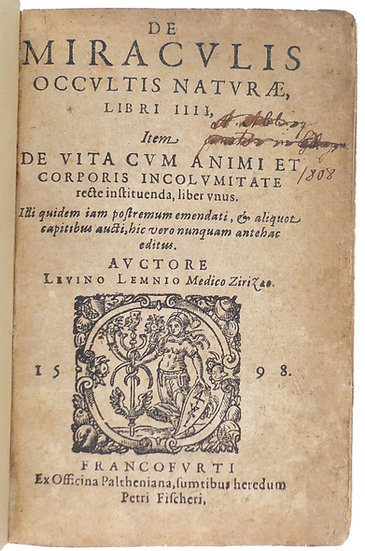 A 1598 edition of Lemnius's Secrect miracle of nature