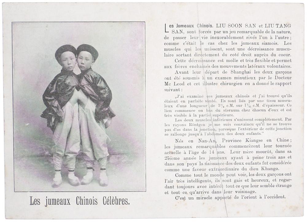 Pitch card van Siamese tweeling Liou-Tang-Sen en Liou-Seng-Sen