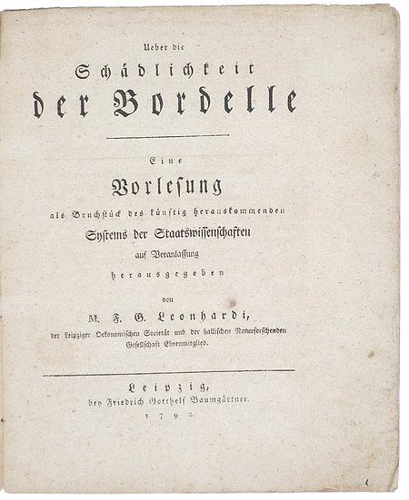 German economist Leonhardi on brothels and moral decline, 1792
