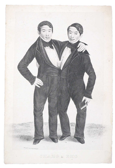 Extremely rare account of the Siamese twins Chang & Eng, with a lovely portrait