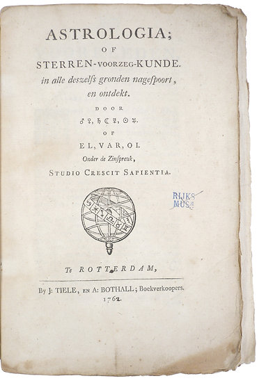 Dutch astrological manual by mysterious author, untrimmed