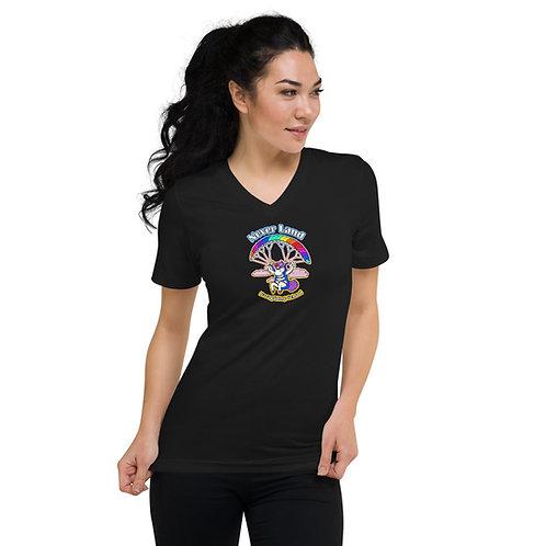 """""""NeverLand Unicorn"""" Unisex Short Sleeve V-Neck T-Shirt"""