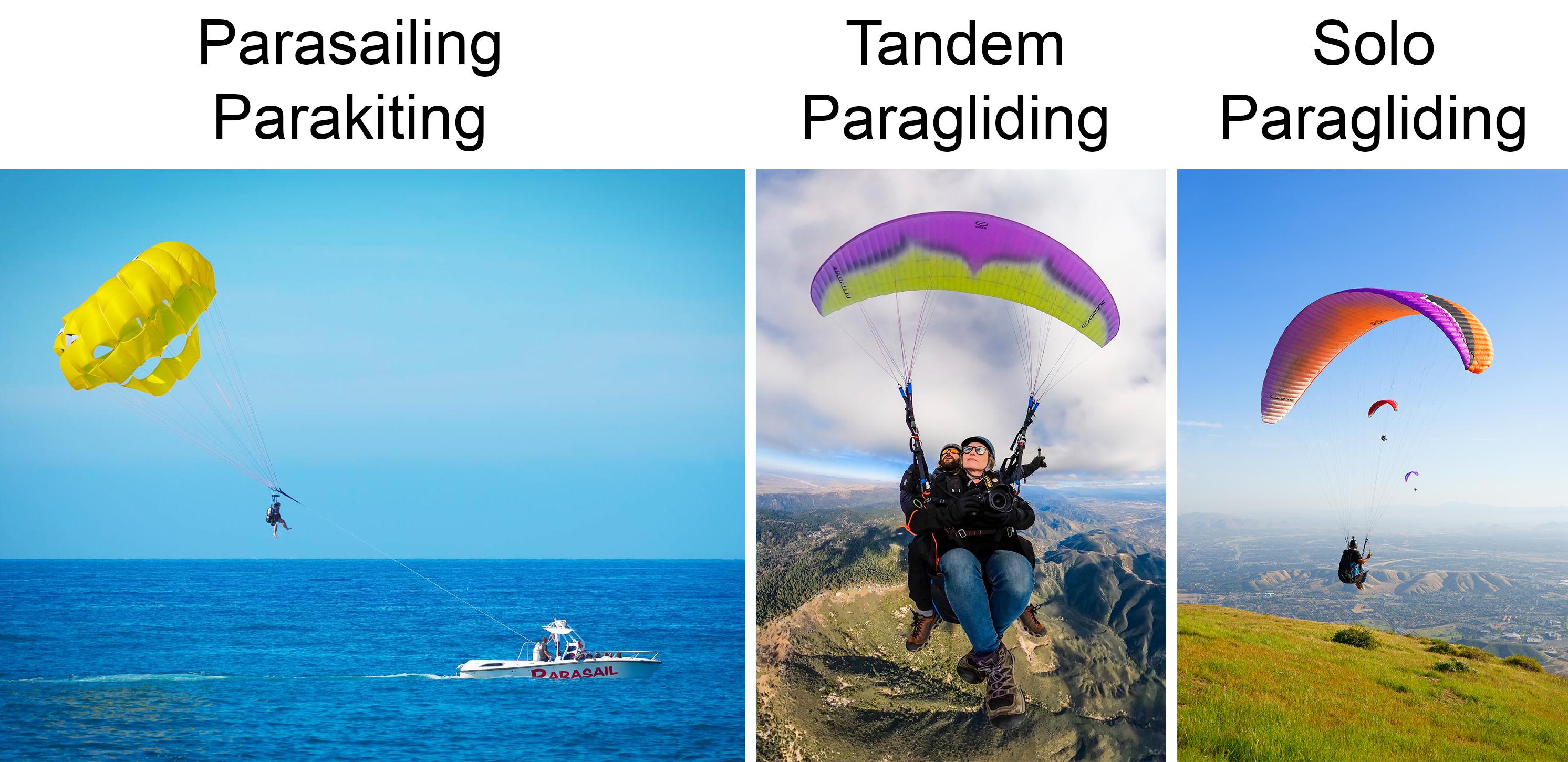 Parasailing vs. Paragliding